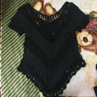黑色流蘇海邊罩衫