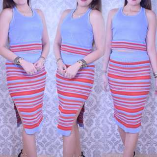 KNITTED TERNO TOP AND SKIRT