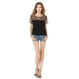 chiffon leopard print shirt