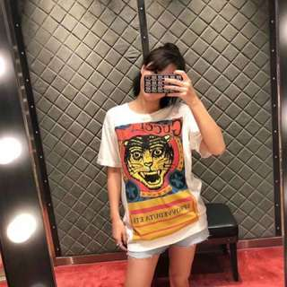 GUCCI Tiger print T-shirt white cotton