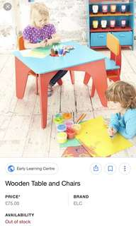 ELC Wooden Table and Chair