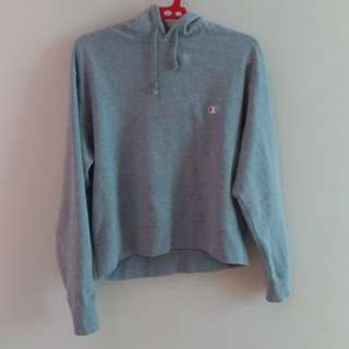 CHAMPION Grey Cropped Hoodie