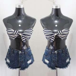 Stripes Bandeau Bikini Top