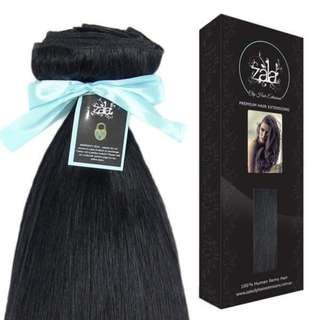 26 inch 5 piece clip in hair extensions in jet black