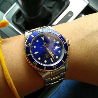 Rolex Submariner 16613 Blue half gold