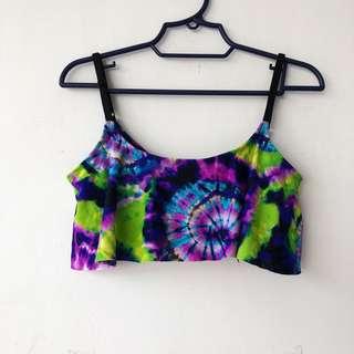 Forever21 Tie Dye Bikini Top with Ruffle