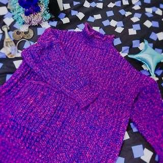 🏵雙色-藍粉混色針織長版毛衣