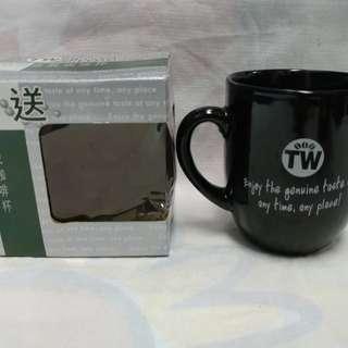 絕版全新捷榮咖啡黑色悠然自我咖啡杯