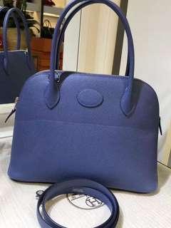 正品 全新 Hermes Bolide 27 7E 藍色Epsom 手挽側揹袋
