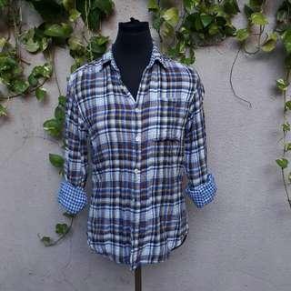 Gap cotton plaid long sleeves