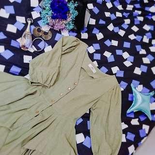 🏵墨綠-公主袖全棉麻上衣