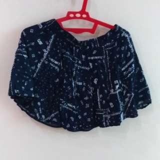 BERSHKA Navy Flare Skirt