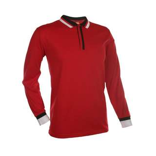 Red Color Unisex Long Sleeve Polo Collar T-Shirt Size M
