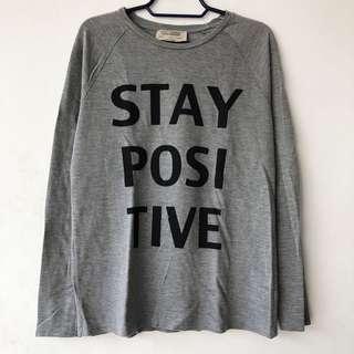 Zara Gray Long Sleeve Graphic Shirt