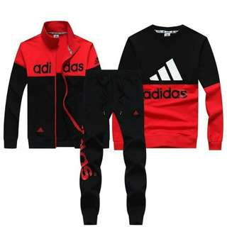 Adidas 愛迪達 2017新款 男女同款三件運動套裝