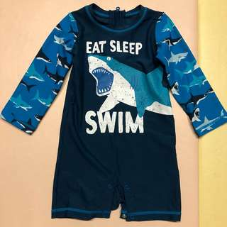 Hatley 長袖抗紫外線鯊魚連身泳衣 - 18~24M