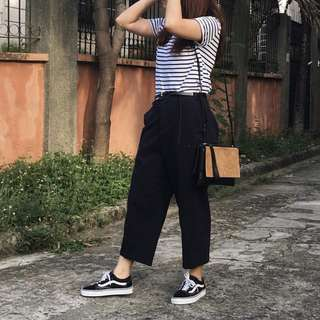 Navy Blue Relaxed Cropped Trousers