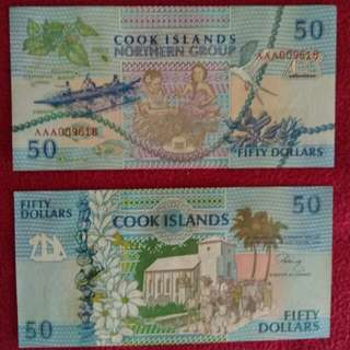 Cook Islands 50 dollars 1992 issue