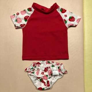 日本製Chuckle Baby 防曬游衣套裝 - 90cm/甜蜜草莓