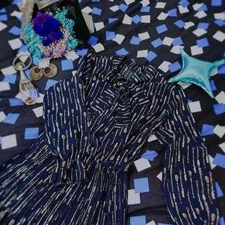 🏵藍色-滿版羽毛連身洋裝
