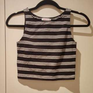 Nearly New Supre Black and White Striped Crop Top