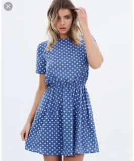 Atmos and Here Blue polka dot dress