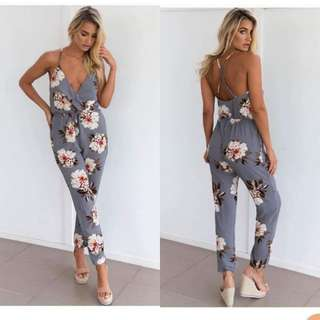 Floral Backless Jumpsuit