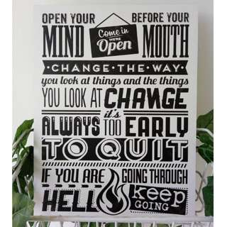 Hiasan Dinding Besar 30x40 Open your mind before your mouth