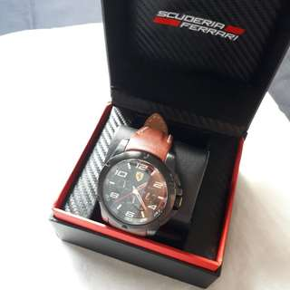 (ORI) Jam Tangan Import • SCUDERIA FERRARI • Men's Black Steel Paddock Chronograph Watch (Brown Leather)