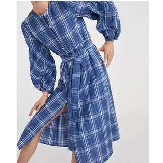 Women Retro Mori girl New Plaid Loose Thin Sweet Long Shirt Dress