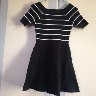 超顯瘦一字領洋裝
