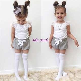 ♪Ida Kids♪INS蕾絲無袖上衣+短褲兩件套