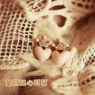 (現貨)皇冠桃心耳環