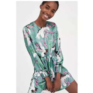 European and American wind Egret flower print cross V-neck dress