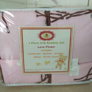 5 Pieces Crib Bedding Set (Pink)