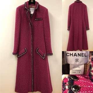 Chanel burgandy long tweet jacket overcoat size 38