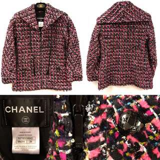 Chanel pink and black tweet with leather jacket size 34