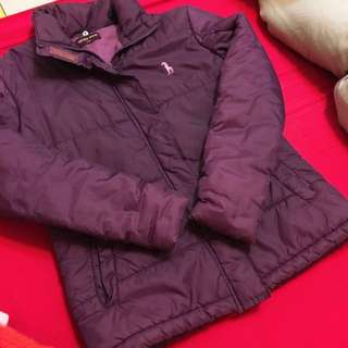 紫色附帽鋪棉厚外套