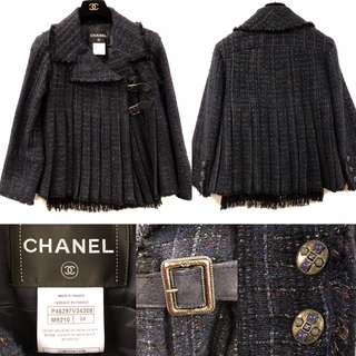 Chanel navy and black leather tweet jacket size 34