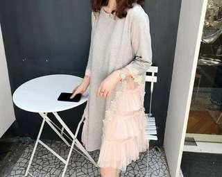 全新正韓蕾絲拼粉紗洋裝