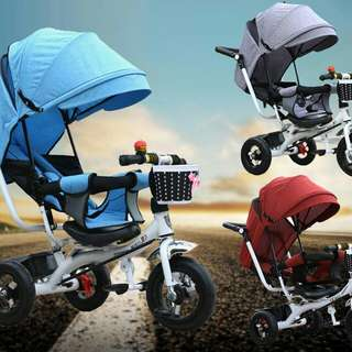 4-In-1 Portable Child Tricycle Trolley Stroller Baby Carriage Bicycle