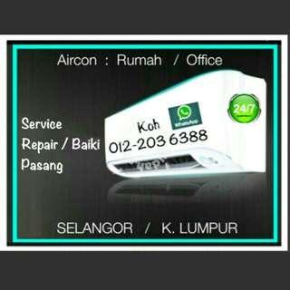 Repair Service install Aircond / Pasang Baiki Servis Aircon / Sales Air conditioner