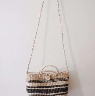 Small Striped Abaca Bag