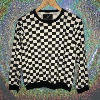 Checkered long sleeve top