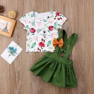 🦁Instock - 3pc floral green suspender set, baby infant toddler girl children sweet kid happy abcdefgh hello there abcdefgh hello there