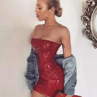 Ema latex bardot bodycon party mini dress