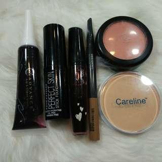 Bundle (Nichido Foundation Stick, Tony Moly Liptint, The face shop eyebrow pencil, Eb avance liptint and blush on, careline powder)