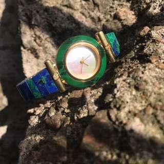 【Lost and find】古董款 藍綠孔雀石 白蝶貝 手錶