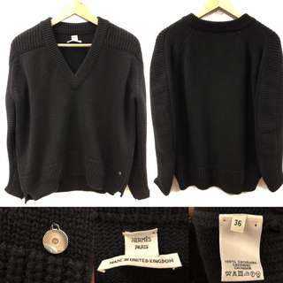 Hermes black cashmere knitted sweater top size 36