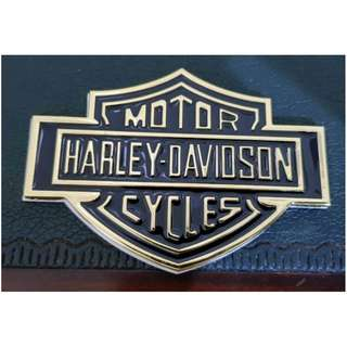 Emblem Gold Metal Harley Logo.(10.5x7.5)